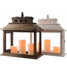 2 assorted natural wood/white lanterns with fitted led candles inside