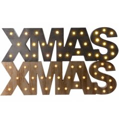 An assortment of 2 grey/wood Xmas LED signs