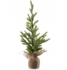 A fine quality artificial Christmas tree set within a hessian bag.