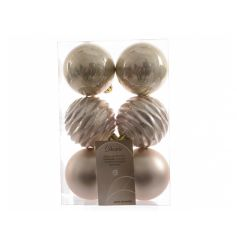 Assortment of 6 baubles finished with pearl colouring