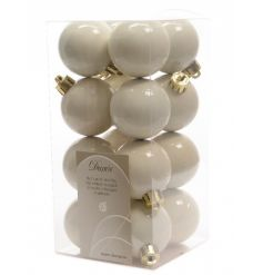 Pack 16 Wool White Baubles
