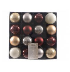 Set of 16 luxury Gold, silver and red baubles