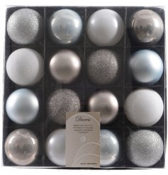Silver Blue Luxury Baubles, Pack 16