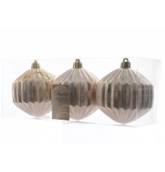A set of 3 geometric shatterproof baubles in a glamorous pearl colour. Compliments many festive themes!
