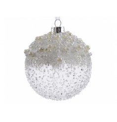 Pack of 3 Ice Pearl Glass Baubles