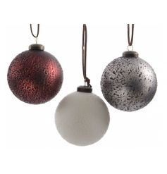 Red, silver and white textured glass baubles with suede ribbon to hang.