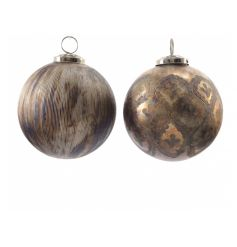 Metallic bronze glass baubles in 2 assorted designs. Chic antique style decorations for the festive tree.