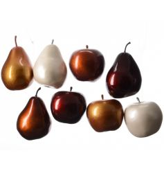 Apples and pear assortments in metallic colours