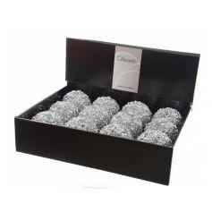 Silver Glitter Baubles 8cm CDU