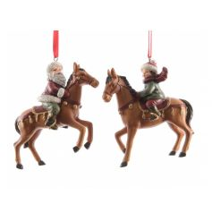 Santa and Child on Horse Hanging Decs 9cm