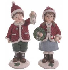 Charming red winter children figures with beautiful coats and hats.