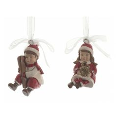 A mix of 2 charming winter children ornaments with ribbon to hang.
