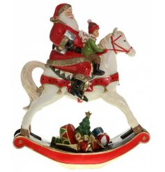 Nordic home styled ceramic Santa and rocking horse