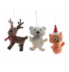 Adorable cartoon style knitted Christmas decorations, each with festive accessories.