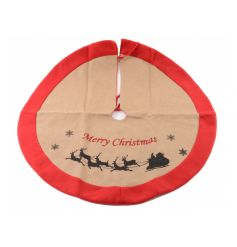 A hessian tree skirt with festive red trim, Christmas slogan and silhouette image.