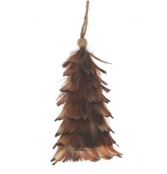 A chic feather hanging decoration with jute string and wooden bead.