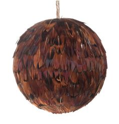 A chic and elegant feather bauble in luxurious copper tonal colours.