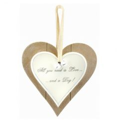 Popular love and a dog text on a chic wooden heart sign