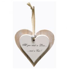 A double heart wooden plaque with love and a cat slogan