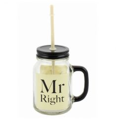 A fantastic Mr Right Mason Jar in cream with matching gift box.