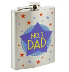 Stainless Steel hip flash with No.1 Dad print