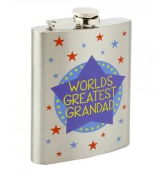 A stylish hip flask with No.1 Grandad slogan. Comes with matching gift box.
