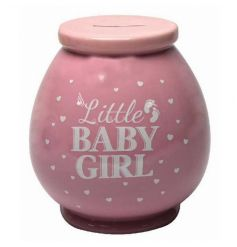 Cute baby girl money box in a pretty pink colour