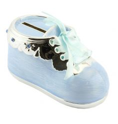 Silver plated money box bootie with blue finish