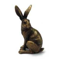 A stylish bronze hare ornament in sitting pose. A stunning home accessory.