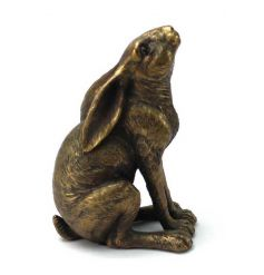 A stunning bronze hare ornament in a gazing pose. A stylish decorative accessory for the home.