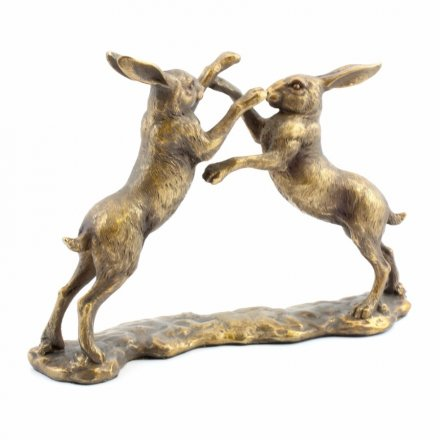 Boxing Bronze Twin Hares