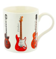 A stylish and modern red guitar mug with gift box.