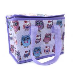 Colourful owl lunch bag with a polka dot finish