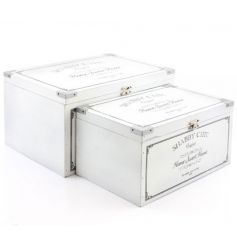 Set of two classic white wooden storage boxes