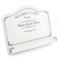 A classic white recipe stand with shabby chic text