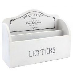 Wooden letter rack in a classic white colour with Shabby Chic text