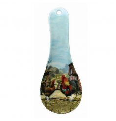 Plastic spoon rest with the new Cockerel & Hen design