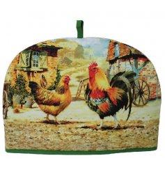 A fabric tea cosy with popular Cockerel and Hen design