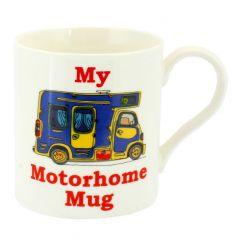 White china mug with motorhome design