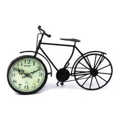 Black bike ornament with vintage style clock
