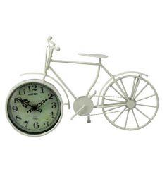 Rustic clock inside a cream bike ornament