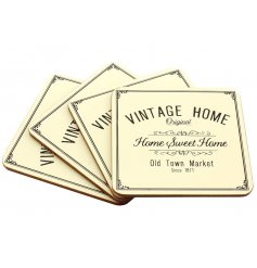 A set of 4 charming vintage home placemats in cream.