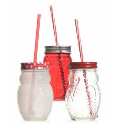 3 assorted glass drinking jars in owl shape