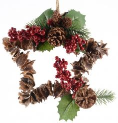 A naturally made star shaped wreath with red winter berries.