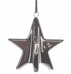 Add some glamour to your collections with this highly glazed silver 3D Christmas hanger made from porcelain.