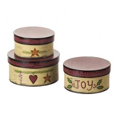 A set of 3 Christmas gift/storage boxes in cream and red with festive imagery.