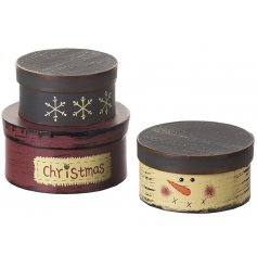 A set of 3 charming wooden storage and gift boxes in a lovely snowman design.
