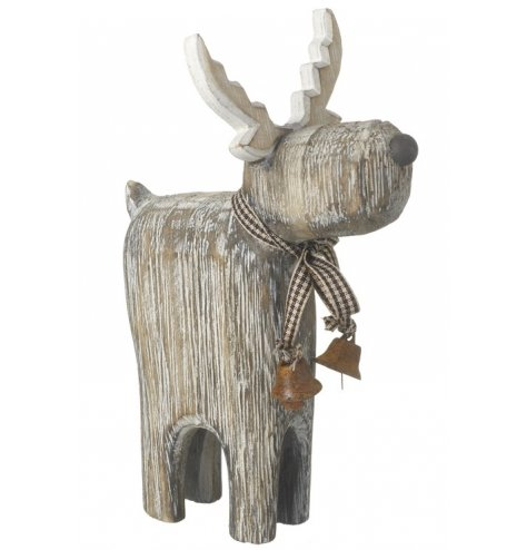 A natural wooden standing reindeer figure with a gingham scarf, rustic bell and button nose.