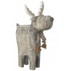A charming chunky reindeer ornament with rustic bells and gingham bow.