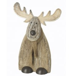 An adorable natural wooden reindeer decoration with scarf.